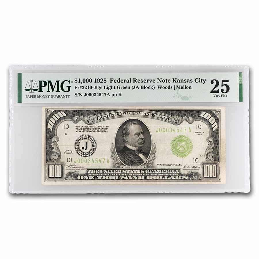1928 (J-Kansas City) $1,000 FRN VF-25 PMG (Fr#2210-J) LGS