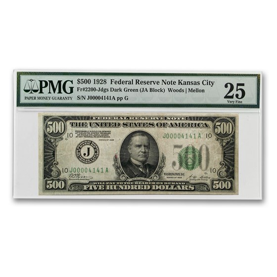 1928 (J-Kansas City) $500 FRN VF-25 PMG (Repeater Note)