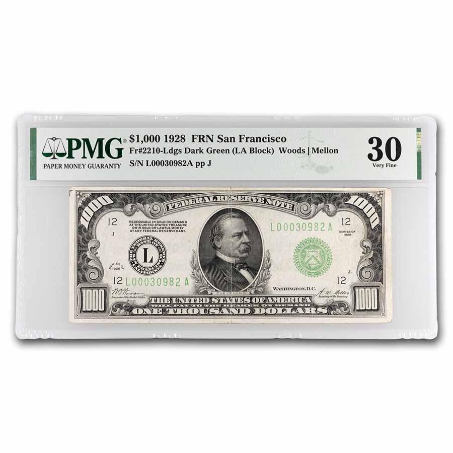 1928 (L- San Francisco) $1,000 FRN VF-30 PMG (Fr#2210-L)