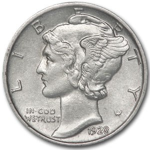 1928 Mercury Dime AU