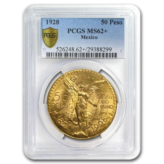 1928 Mexico Gold 50 Pesos MS-62+ PCGS