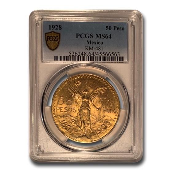 1928 Mexico Gold 50 Pesos MS-64 PCGS