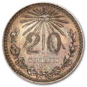 1928 Mexico Silver 20 Centavos BU
