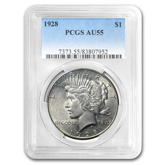1928 Peace Dollar AU-55 PCGS