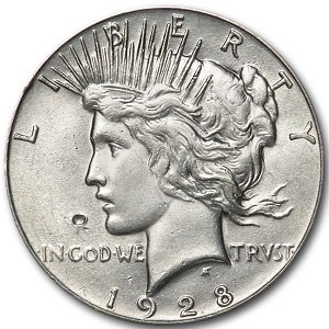 1928 Peace Dollar AU-58 Details (Cleaned, Punch Mark)