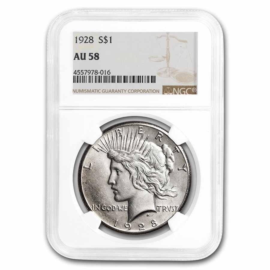 1928 Peace Dollar AU-58 NGC