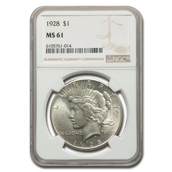 1928 Peace Dollar MS-61 NGC