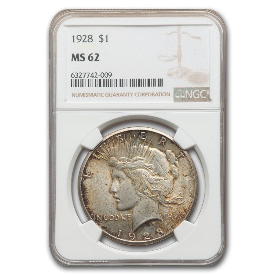 1928 Peace Dollar MS-62 NGC