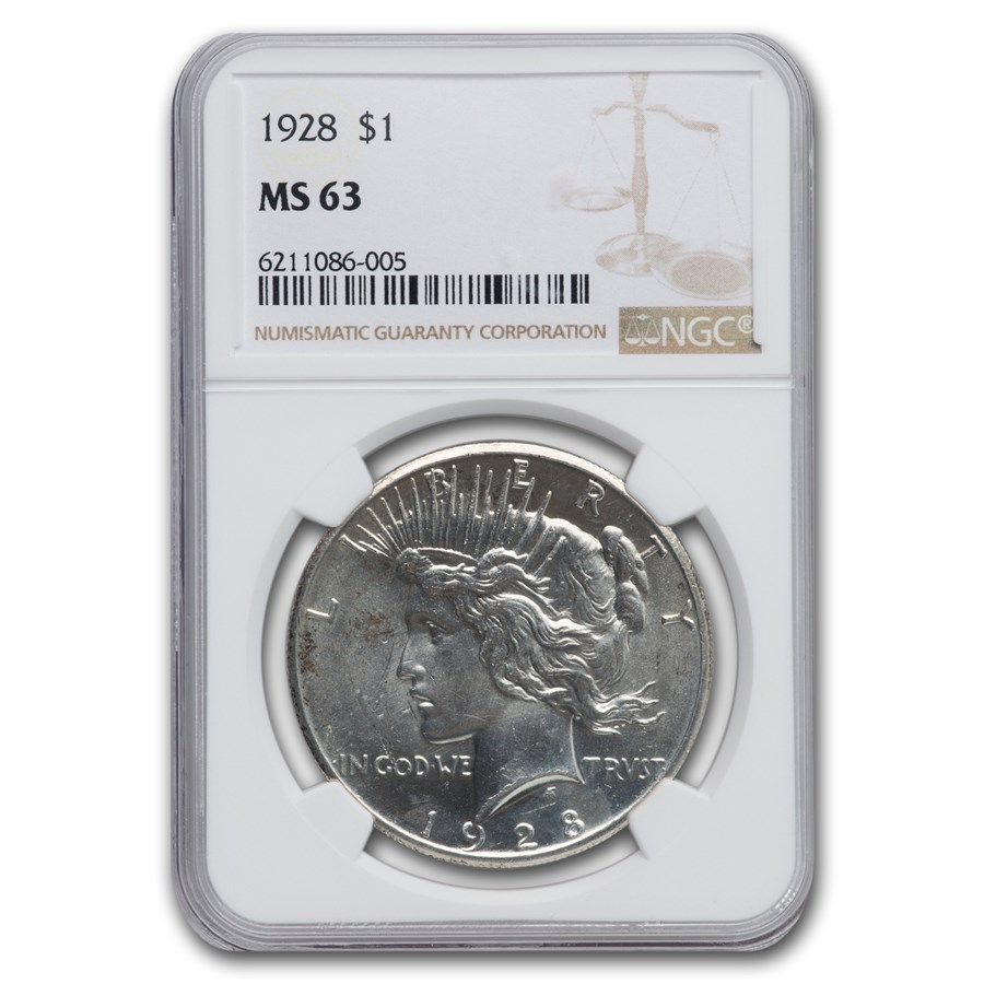 1928 Peace Dollar MS-63 NGC