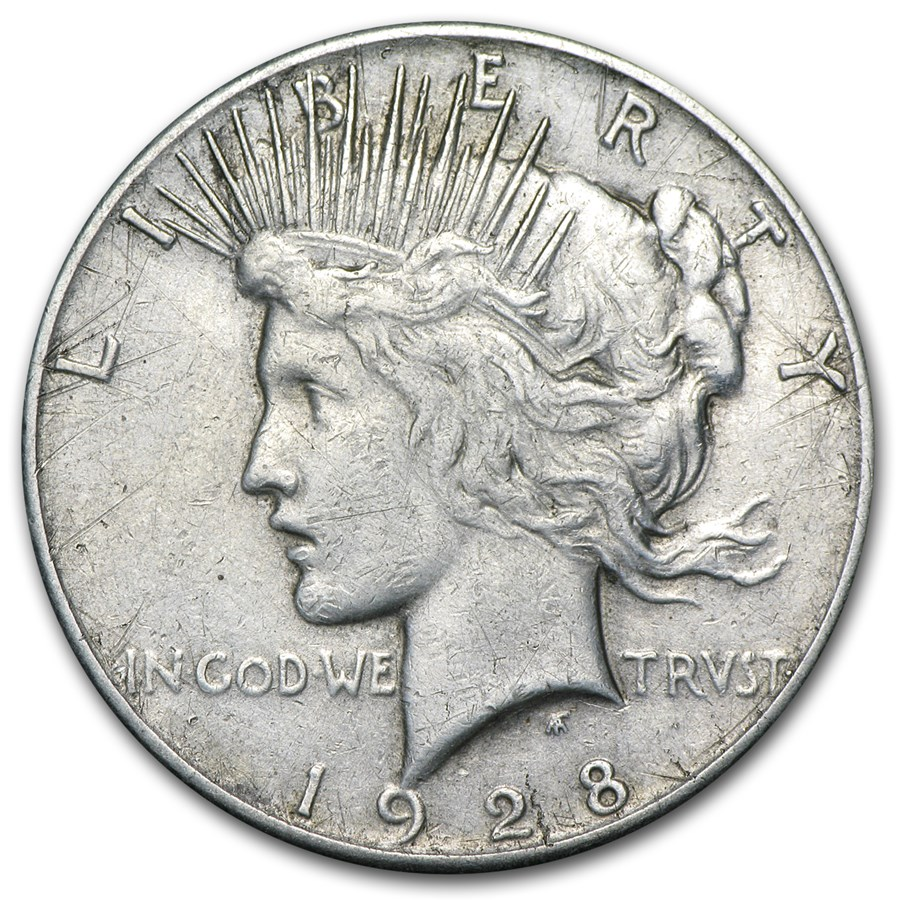 1928 Peace Dollar XF Details (Cleaned)