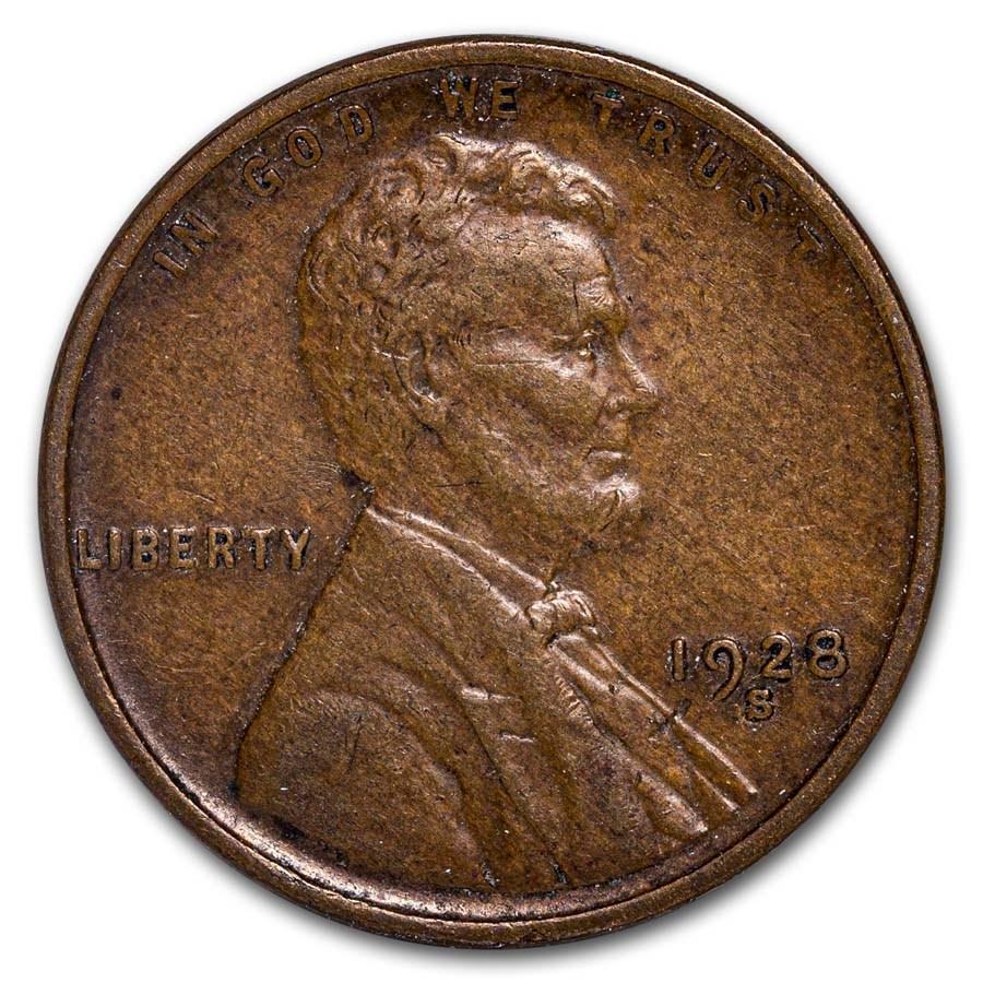 1928-S Lincoln Cent AU