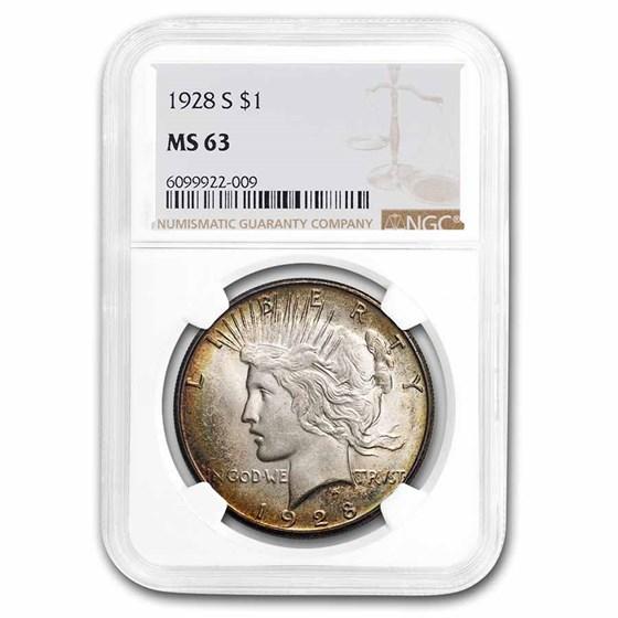 1928-S Peace Dollar MS-63 NGC