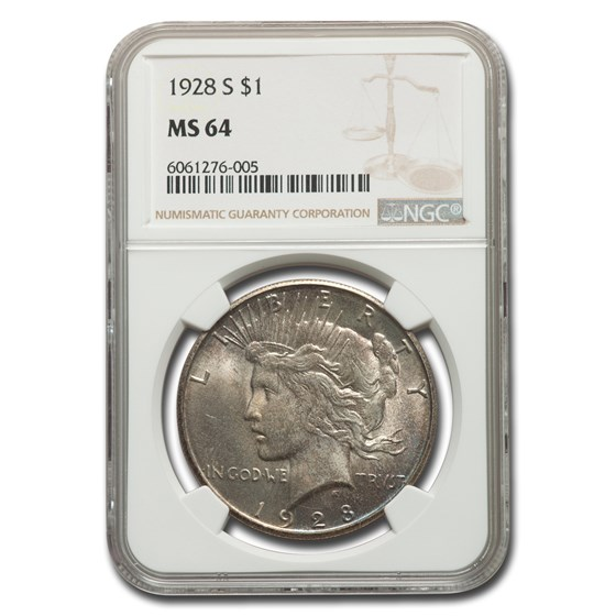 1928-S Peace Dollar MS-64 NGC