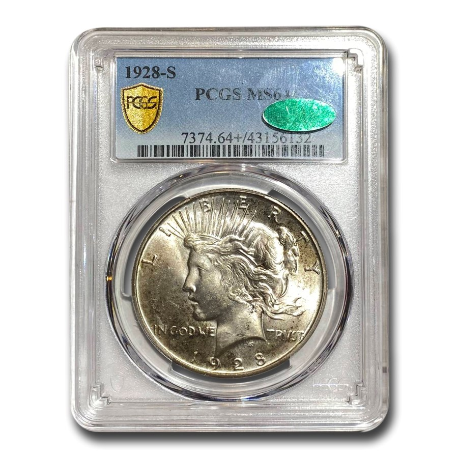 1928-S Peace Dollar MS-64+ PCGS CAC