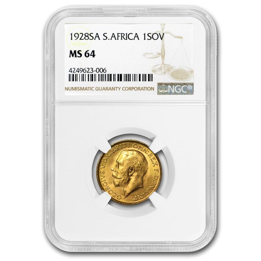 1928-SA South Africa Gold Sovereign MS-64 NGC