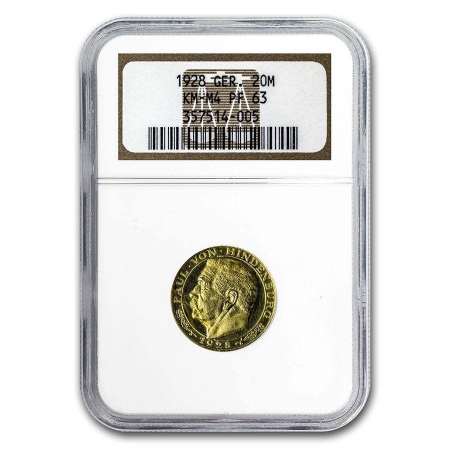 1928 Weimar Republic Gold Medallic 20 Marks PF-63 NGC