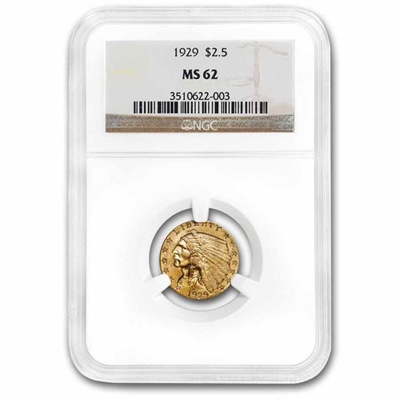 1929 $2.50 Indian Gold Quarter Eagle MS-62 NGC