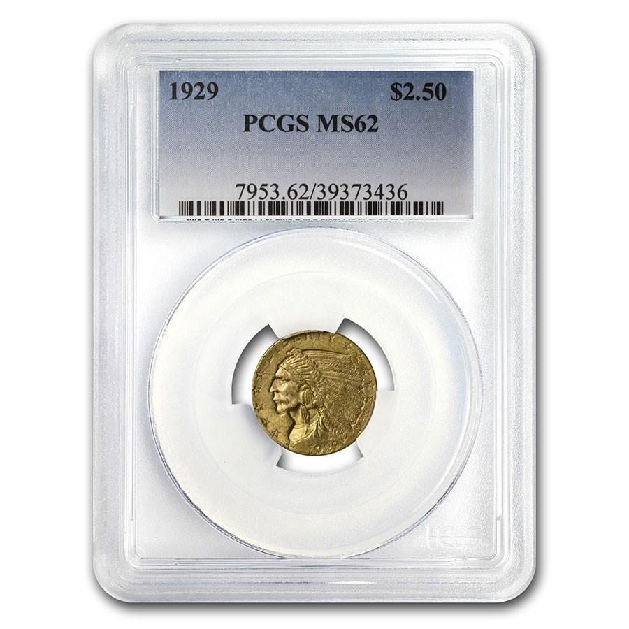1929 $2.50 Indian Gold Quarter Eagle MS-62 PCGS