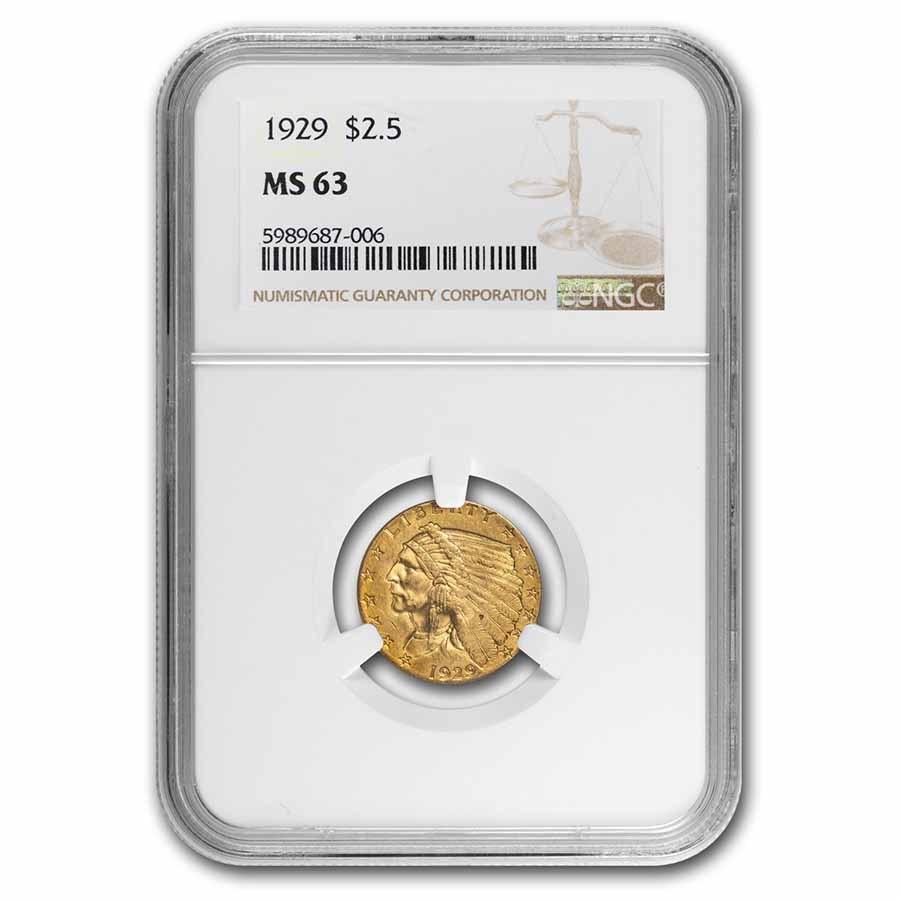 1929 $2.50 Indian Gold Quarter Eagle MS-63 NGC