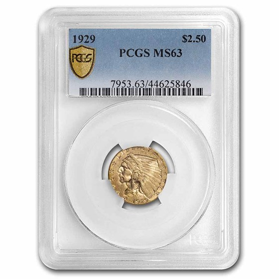 1929 $2.50 Indian Gold Quarter Eagle MS-63 PCGS