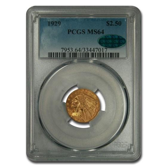 1929 $2.50 Indian Gold Quarter Eagle MS-64 PCGS CAC