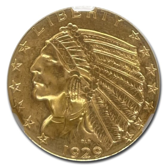 1929 $5 Indian Gold Half Eagle MS-64 NGC