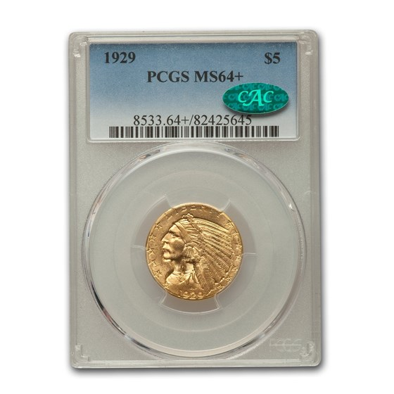 1929 $5 Indian Gold Half Eagle MS-64+ PCGS CAC