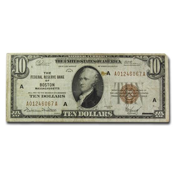 1929 (A-Boston) $10 Brown Seal FRBN VF (Fr#1860-A)