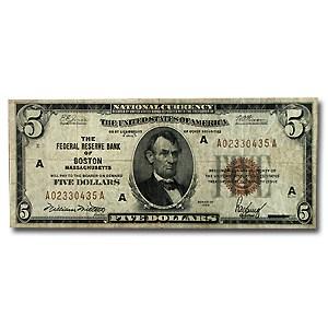 1929 (A-Boston) $5.00 Brown Seal FRBN Fine (Fr#1850-A)