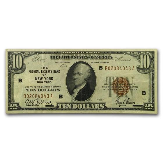 1929 (B-New York) $10 Brown Seal FRBN Fine (Fr#1860-A)