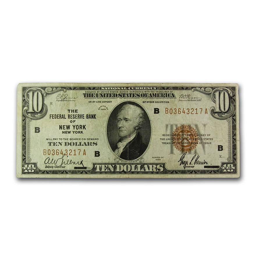 1929 (B-New York) $10 Brown Seal FRBN VF (Fr#1860-A)