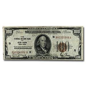 1929 (B-New York) $100 Brown Seal FRBN Fine Details