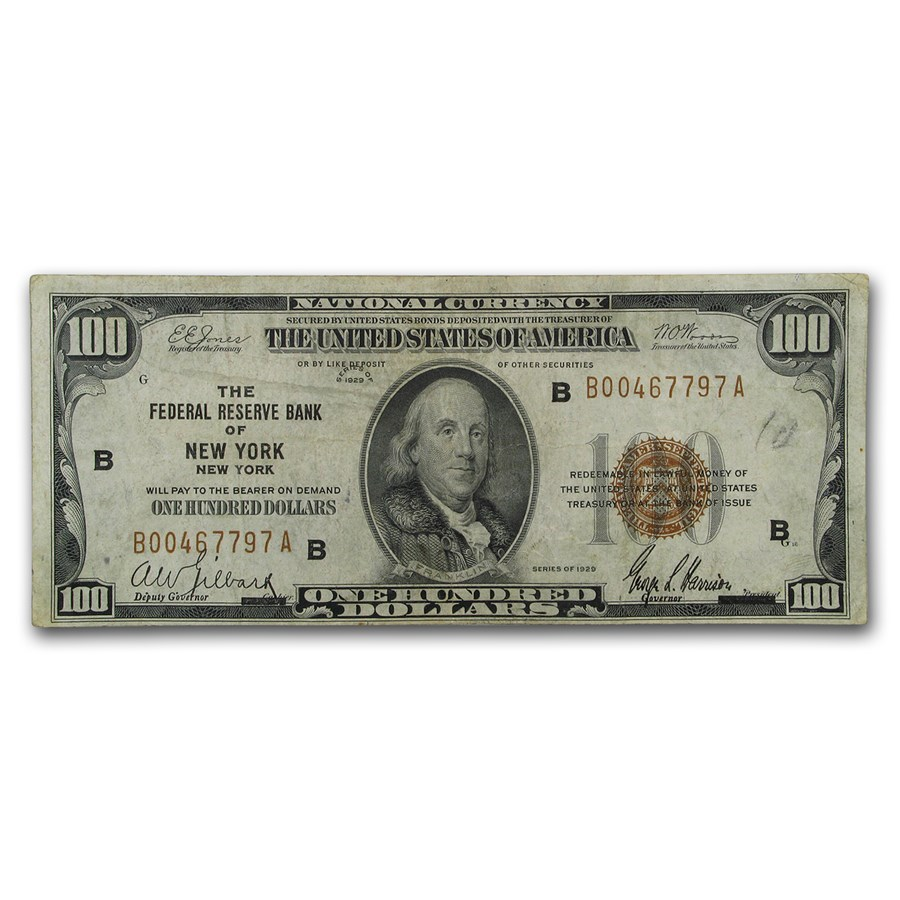 1929 (B-New York) $100 Brown Seal FRBN VF