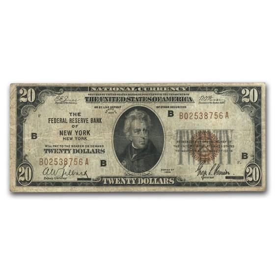 1929 (B-New York) $20 Brown Seal FRBN Fine