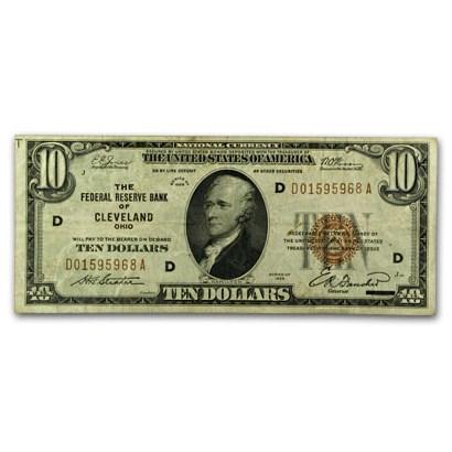 1929 (D-Cleveland) $10 Brown Seal FRBN VF+