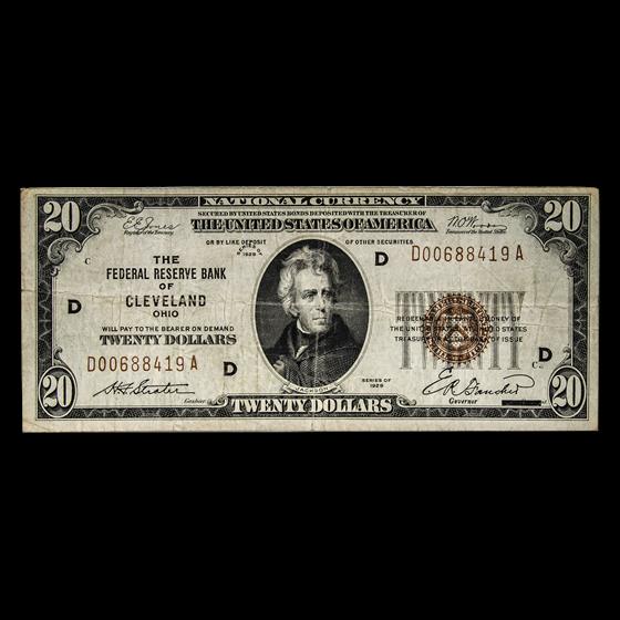 1929 (D - Cleveland) $20 Brown Seal FRBN Fine