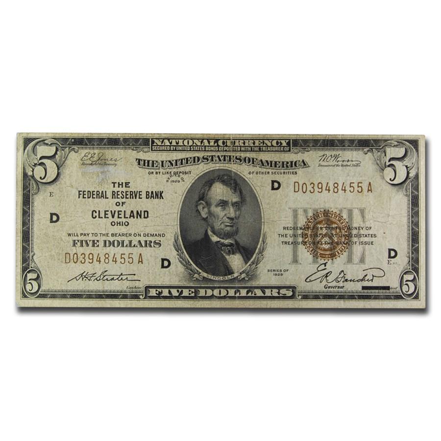 1929 (D-Cleveland) $5.00 Brown Seal FRBN Fine (Fr#1850-D)