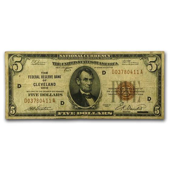 1929 (D-Cleveland) $5.00 Brown Seal FRBN VF