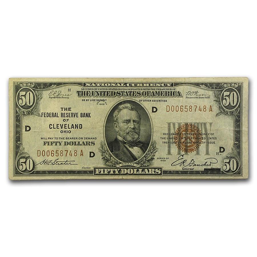1929 (D-Cleveland) $50 Brown Seal FRBN VF (Fr#1880-D)