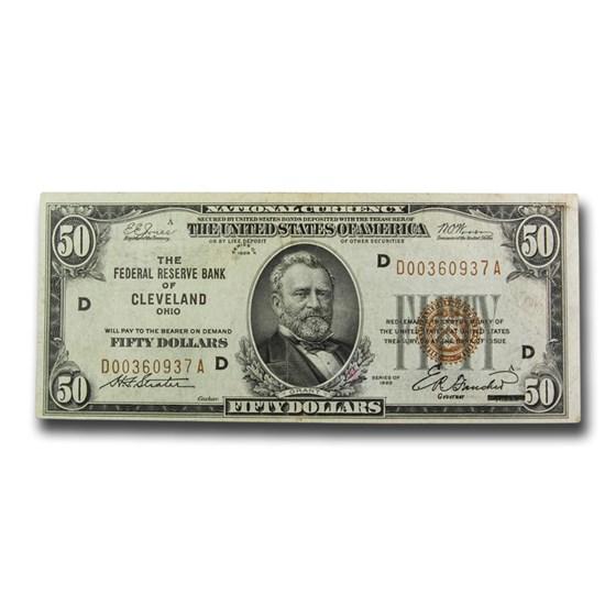 1929 (D-Cleveland) $50 Brown Seal FRBN XF (Fr#1880-D)