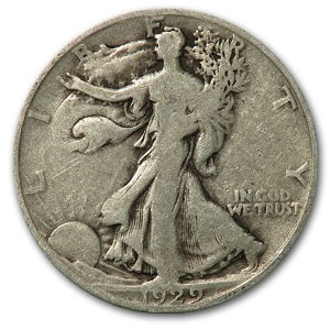 1929-D Walking Liberty Half Dollar Good/VG