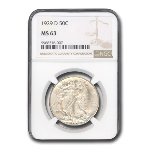 1929-D Walking Liberty Half Dollar MS-63 NGC