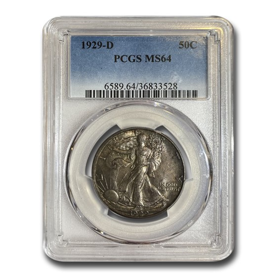 1929-D Walking Liberty Half Dollar MS-64 PCGS