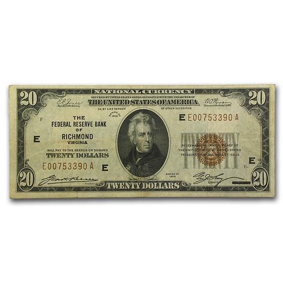 1929 (E-Richmond) $20 Brown Seal FRBN VF (Fr#1870-E)