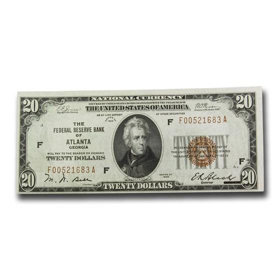 1929 (F-Atlanta) $20 Brown Seal FRBN CU (Fr#1870-F)
