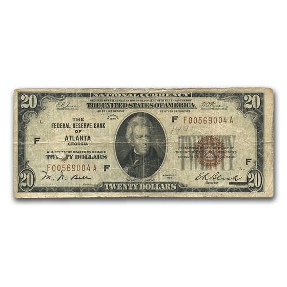 1929 (F-Atlanta) $20 Brown Seal FRBN VG Details