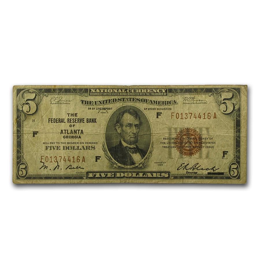 1929 (F-Atlanta) $5.00 Brown Seal FRBN Fine (Fr#1850-F)