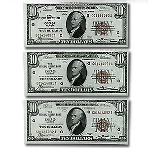 1929 (G-Chicago) $10 Brown Seal FRBN CU