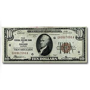 1929 (G-Chicago) $10 Brown Seal FRBN VF Details