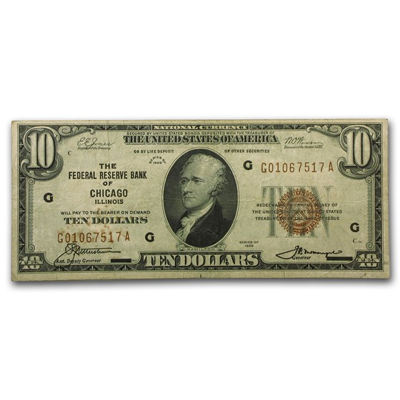 1929 (G-Chicago) $10 Brown Seal FRBN VF (Fr#1860-G)